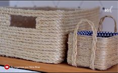 DIY BASKET Learn how to make a basket out of rope and sisal! Diy Crafts For Home Decor, Diy Crafts Hacks, Diy Arts And Crafts, Creative Crafts, Jute Crafts, Cement Crafts, Recycled Crafts, Diy Straw, Rope Basket