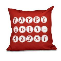 E by Design Happy Holidays Word Print outdoor Pillow 18 x 18-inch Outdoor Pillow