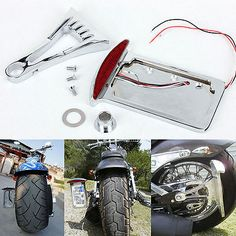 Chrome Side Mount License Plate LED Tail Brake Light For Harley Customs Chopper Custom Harleys, Ebay Auction, Motor Parts, Motorcycle Accessories, Accessories Store, Motorcycle Parts, Chopper, Chrome, Plates