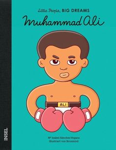 Als Muhammad klein war, wurde ihm sein Fahrrad gestohlen. Er wollte mit dem Dieb kämpfen, aber ein Polizist sagte ihm, er solle zuerst boxen lernen. Er trainierte unermüdlich und wurde ein eleganter und trickreicher Boxer. Sein großer Traum ging schließlich in Erfüllung: Er wurde Schwergewichtsweltmeister. Aber er konnte nicht nur gut mit seinen Fäusten umgehen, sondern zeigte auch außerhalb des Boxrings Zivilcourage.   Dabei begann alles, als sie noch klein waren: mit großen Träumen. Mohamed Ali, Learning Cards, Fun Learning, Rudolf Nurejew, Isabel Sanchez, Thriller, Champions Of The World, Dream Book, Fun Illustration