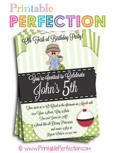 Birthday Party Invitation - O-Fish-Ally - Boy - Fishing - Vertical