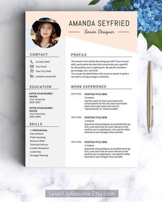 To get the job, you a need a great resume. The professionally-written, free resume examples below can help give you the inspiration you need to build an impressive resume of your own that impresses… Resume Design Template, Resume Template Free, Creative Resume Templates, Cover Letter For Resume, Cover Letter Template, Microsoft Word, Esthetician Resume, Portfolio Web, Portfolio Design