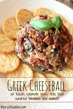 A delicious Greek Cheeseball, great for entertaining | therusticwillow.com