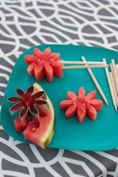 Summer fruit can be fun! Cut shapes and make these watermelon pops!