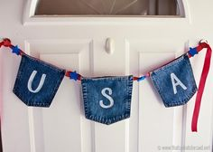 Make a banner for your door using denim to spell out USA and show your patriotic pride.