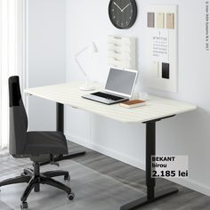 IKEA reception desk is a brilliant way for an office with a simple and more futuristic look. IKEA works well in the most modern home. Ikea Desk, Home Office Furniture, Bedroom Furniture, Furniture Ideas, Bedroom Desk, Paint Furniture, Modern Bedroom, Modern Furniture, Home Office Design