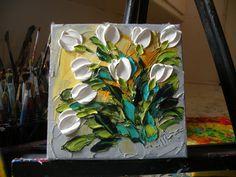 Wall Decor White Tulips Shabby Chic by IronsideImpastos on Etsy