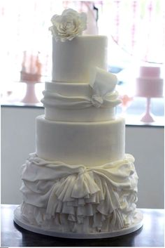 Tiered White Cake with Fabric-Inspired Folds, Like a Southern Bride Dress
