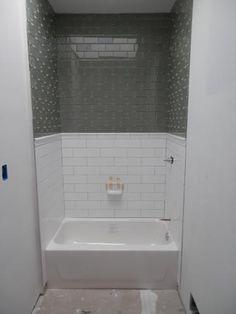 Small Bathroom With Black Hexagon Bathroom Floor Tile And