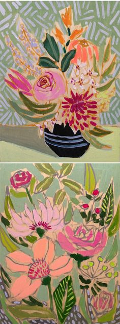 This is the patterny, flowery, joy-filled work of American artist Lulie Wallace