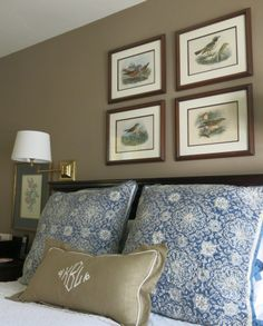 Blue White And Taupe Bedroom With Antique Hand Colored Bird Prints By Henry Eeles Dresser Garden Home Party