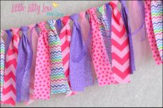 Sweet Spring Rag Tie Banner  Pink and Purple by LittleLillyLou, $27.95