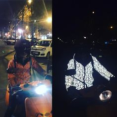 Ready for the ride ? Put your lights on! #safety #ride #paris #urbanstyle #urbanfashion #fashion #scooter #vespa #reflective #reflectivejacket #highviz #beseen #mystyle #noregrets #ideas #road #style #purestyle #thatsme #orange #mustache #helmet #view #parisbynight