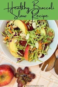 This easy side dish recipe includes a crunchy broccoli slaw mix with apples, grapes, and sliced and toasted almonds. Dressed with a slighty sweet and tangy sauce. Make ahead and the flavors are even better the next day. fitasafiddlelife.com Broccoli Slaw Recipes, Steak Side Dishes, Low Gi, Toasted Almonds, Apples, Fitness, Salads, Meals, Dinner