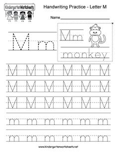 "This is a letter M tracing worksheet. Children can trace uppercase and lowercase letters and the word ""monkey."" You can download, print, or use it online. Alphabet Writing Worksheets, Kindergarten Writing Activities, English Worksheets For Kindergarten, Letter Worksheets For Preschool, Handwriting Practice Worksheets, Handwriting Alphabet, Tracing Worksheets, Alphabet Tracing, Cursive"