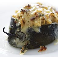 Poblanos Stuffed with Cheddar and Chicken. Use white rice for a safe starch and thighs for the chicken.
