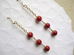 Red Bamboo Coral Earrings by TheLadyLindy on Etsy