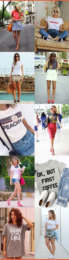 Ideias de looks modernos com camisetas básicas divertidas