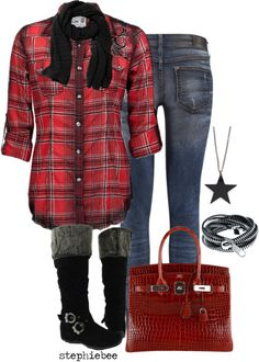 """""""Plaid Shirt"""" by stephiebees on Polyvore"""