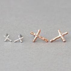 Small Cross Earrings Studs set of 2 from Kellinsilver.com