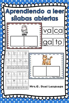 Practicing reading and writing Spanish syllables. Includes 52 words. Makes a great literacy center.