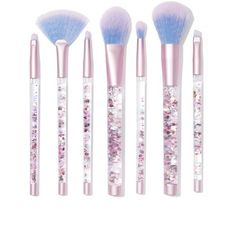 Lime Crime Aquarium Liquid Glitter Brush Set ($58) ❤ liked on Polyvore featuring beauty products, makeup, makeup tools, makeup brushes, beauty, set of brushes, lime crime and set of makeup brushes