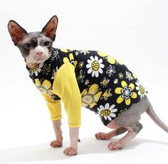Retro Vintage cat shirt Groovy Daisy print sphynx cat clothes long sleeves yellow black white floral cat pajamas cat sweater