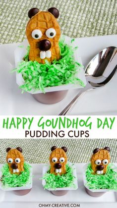 Five Approaches To Economize Transforming Your Kitchen Area These Happy Groundhog Day Pudding Cups Are The Cutest For Preschoolers And Kindergarten Kids The Kids Will Love To Eat These Punxsutawney Phil Nutter Butter Treats Holiday Treats, Holiday Fun, Holiday Recipes, Kid Recipes, Holiday Cookies, Brunch Recipes, Recipies, Dessert Recipes, Oreo Dessert