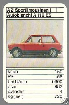 Autobianchi A 112 Abarth Top Trumps, Vintage Games, Limousine, Vintage Italian, Sport, Fiat, Cars And Motorcycles, Hot Wheels, Graphic Art