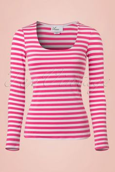 Vixen by Micheline Pitt  50s Trouble Maker Shirt Pink White  Stripes longsleeve tshirt top roze wit strepen lange mouwen top tshirt