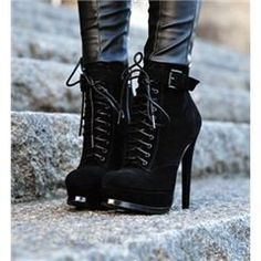 $ 81.29 Black Coppy Leather Lace-Up Stiletto Heel Ankle Boots