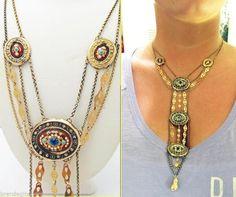 Antique Necklace Normandy France En Esclavage 18k Gold Enamel Paste (#5140)