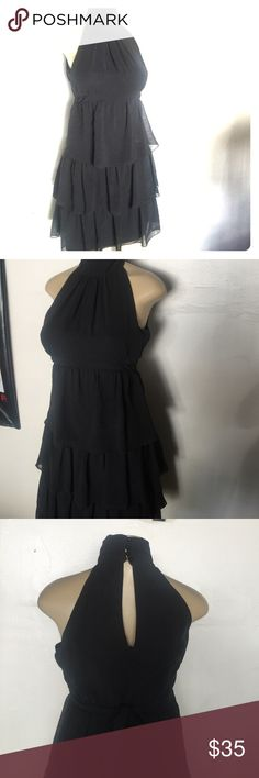 Zara tiered black highneck dress Gorgeous & unique 3 tier Zara dress. Size small in great condition. no holds & no trades Zara Dresses Midi