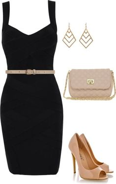 Black dress with gold/nude Dress Outfits, Casual Dresses, Short Dresses, Fashion Dresses, Cute Outfits, Modern Fashion, Look Fashion, Fashion Trends, Fashion Black