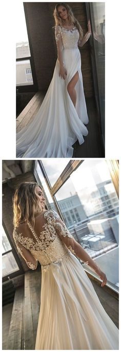 Beaded Ivory Beach Wedding Dresses See Through Long Sleeves Wedding Dresses M4820