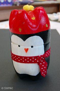 recycled art - plastic bottle penguin box
