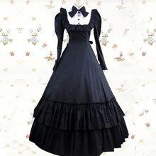 2015 de la manga de la princesa del vestido de la nueva manera de encargo de la fantasía Larga Negro Algodón Victorian Gothic Lolita Traje 86 Vestido(China (Mainland))