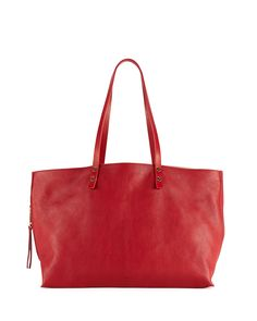 Dilan East-West Leather Tote Bag, Red - Chloe
