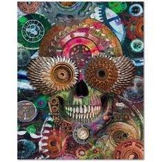 Steampunk Mechaniskull - Coggler's Sugar Skull Art Canvas Print - Premium Canvas Gallery Wrap - Fusion Idol Arts - New Mexico Artist Christopher Beikmann #sugarskull