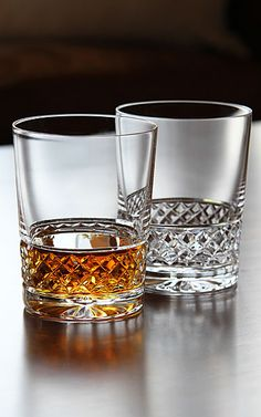 a pair of crystal single malt whiskey/whisky glasses by Cashs of Ireland