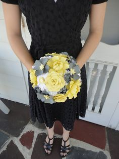 Peony Paper Flower Bridal Bouquet - Wedding Paper Rose Peony Carnation Daisy Susan. $108.00, via Etsy.
