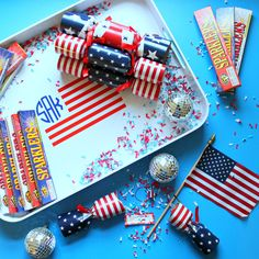 Create this perfectly patriotic DIY American Flag Monogrammed Tray for the Fourth of July using a Cricut Explore Machine! Cricut Explore, Sparklers, Fourth Of July, American Flag, Tray, Monogram, Diy Projects, Gift Wrapping, Create
