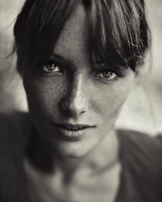 ♀ Black and white woman portrait face with freckles