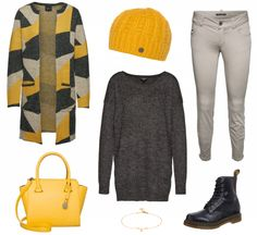 #Herbstoutfit Yellow and Black ♥ #outfit #Damenoutfit #outfitdestages #dresslove