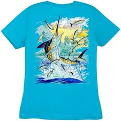 Guy Harvey Shirts - Guy Harvey Island Marlin Ladies Back-Print Tee with Front Signature in Black, White, Caribbean Blue or Raspberry, $19.95 (http://www.guyharveyshirts.com/guy-harvey-island-marlin-ladies-back-print-tee-with-front-signature-in-black-white-caribbean-blue-or-raspberry/)