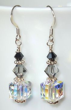 Swarovski Crystal Drop Earrings Shades of Gray is creative inspiration for us. Get more photo about diy home decor related with by looking at photos gallery at the bottom of this page. Swarovski Jewelry, Crystal Jewelry, Beaded Jewelry, Swarovski Crystals, Diy Crystal Earrings, Diy Drop Earrings, Silver Earrings, Sapphire Earrings, Women's Jewelry