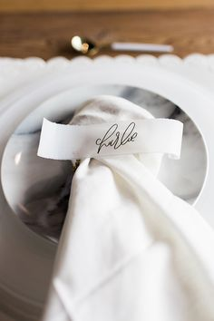 Modern Marble Place Setting with Calligraphy Escort Cards