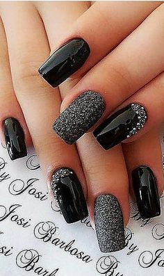 Acrylic Design Recommendations For Short Nails. Picture Number 10 - We are with. Acrylic Design Recommendations For Short Nails. Picture Number 10 - We are with 22 pictures with short acrylic nail designs. You should definitely look at these acryli - Black Nails With Glitter, Black Acrylic Nails, Sparkly Nails, Red Nails, Hair And Nails, Pastel Nails, Fall Nails, Red And Silver Nails, Nail Black