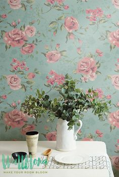 30% OFF from Removable Wallpaper / Temporary Wall Decal / Pink Garden Rose Self-Adhesive Wallpaper / 007