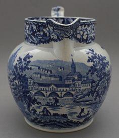 Antique Pottery Pearlware Blue Transfer Swansea Cambrian Pulteney Bridge Jug